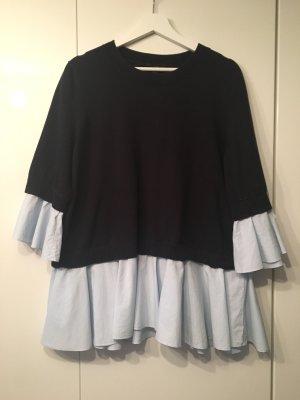 COS Sweater dark blue-azure cotton