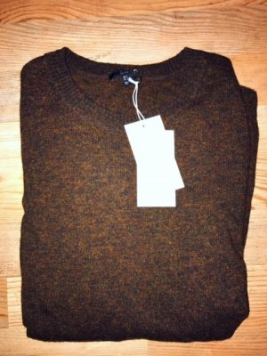 COS Wool Sweater dark brown-cognac-coloured wool