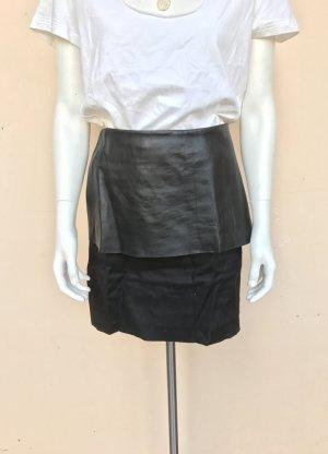 COS Rock Gr.38 schwarz Mini Leder Leinen Reißverschluss Peplum High Waist