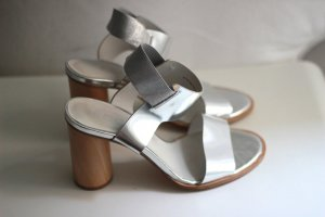 COS High-Heeled Sandals light grey-silver-colored leather