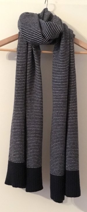 COS Woolen Scarf dark blue-white wool