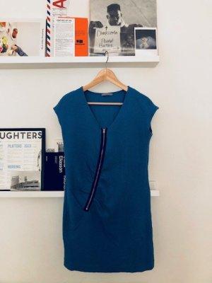 COS Sommerkleid blau M mit Reißverschluss V-Ausschnitt V-Neck