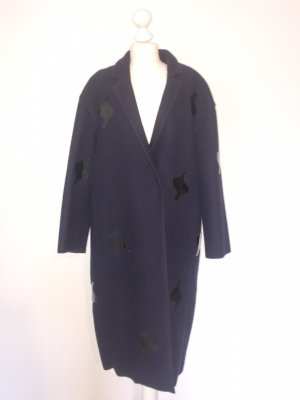 COS sophisticated Dunkelblau Mantel 34_dark blue+black shiny motif