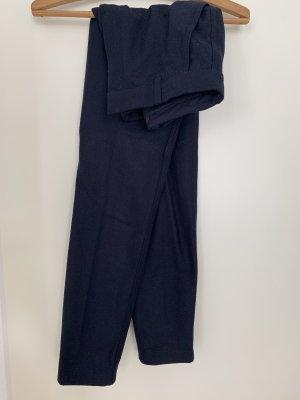 COS Pantalon en laine bleu foncé-bleu