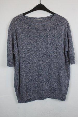 COS Strick Shirt Pullover kurzarm Gr. L Leinen meliert grün blau rosa (18/3/231)