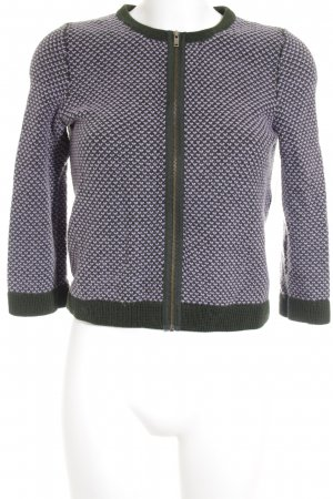 COS Cardigan forest green-mauve weave pattern casual look