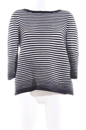 COS Strickpullover weiß-schwarz Streifenmuster Casual-Look