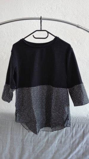 COS Strickpullover Pullover schwarz Muster S 36 Bluseneinsatz