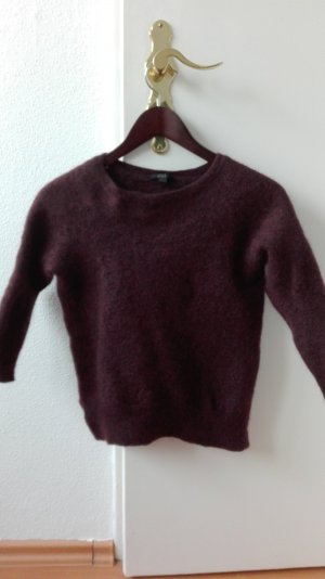 COS Strickpullover weinrot bordeau meliert Crop Pullover XS 34