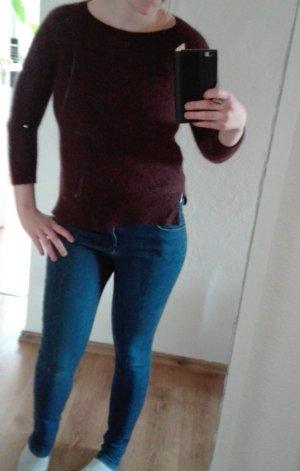 COS Strickpullover weinrot bordeau meliert Crop Pullover XS 34