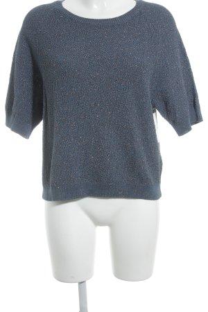 COS Strickshirt rostrot-stahlblau Glitzer-Optik