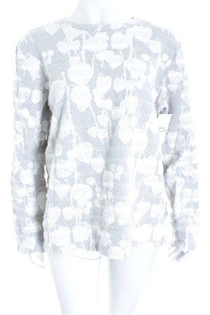 COS Sweatshirt hellgrau-weiß abstrakter Druck Struktur-Optik