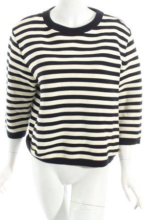 COS Sweatshirt schwarz-wollweiß Ringelmuster Marine-Look