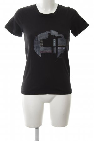 COS T-Shirt schwarz-hellgrau Motivdruck Casual-Look