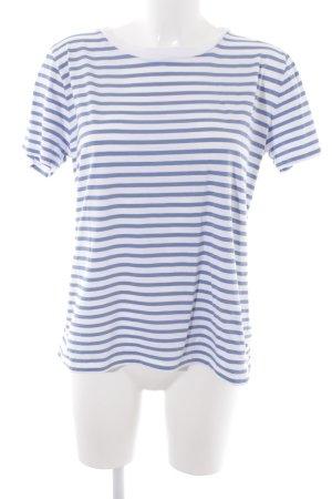 COS T-Shirt weiß-kornblumenblau Streifenmuster Marine-Look