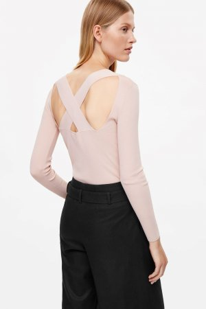 COS Backless Top pink viscose