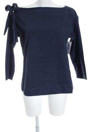 COS Camisa de cuello barco azul oscuro estilo sencillo