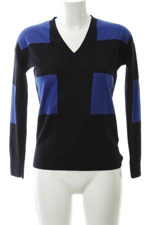COS Jersey con cuello de pico negro-azul estampado a cuadros