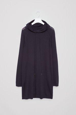 COS Pull à capuche bleu foncé laine