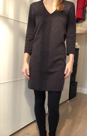 COS Vestido de lana gris-burdeos