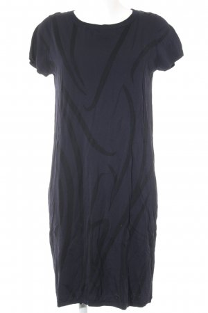 COS Wollen jurk donkerpaars-taupe abstract patroon elegant