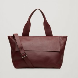 COS XL Tote Bag, Shopper aus Leder in Purple