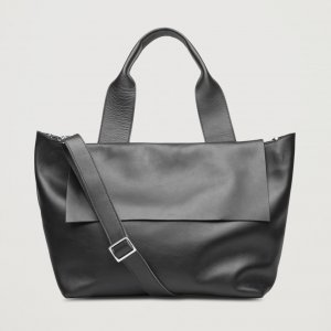 COS Tote black leather
