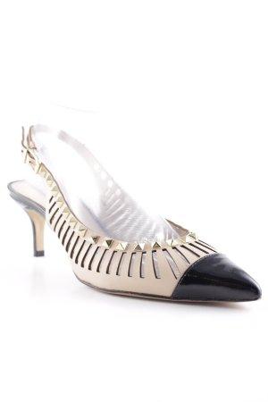 Cosmoparis Slingback-Pumps beige-schwarz extravaganter Stil