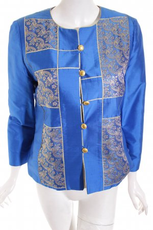Cosmos Chic Short Jacket blue-gold-colored floral pattern elegant