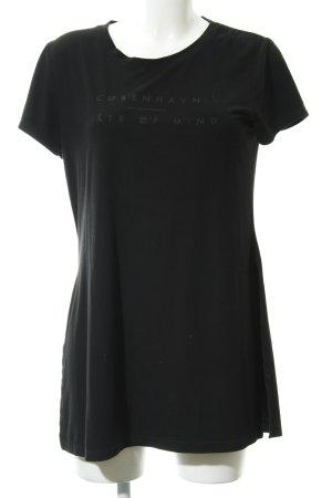 Costes Longshirt schwarz Schriftzug gedruckt Casual-Look