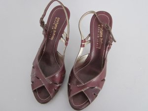 High Heel Sandal brown-gold-colored leather