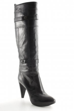 Costume National High Heel Stiefel schwarz Biker-Look