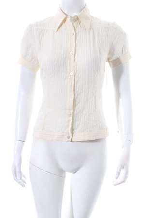 Costume national Kurzarm-Bluse creme Streifenmuster Transparenz-Optik