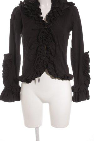 Rüschen-Bluse schwarz extravaganter Stil