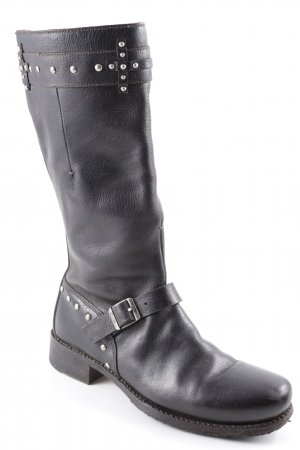 Costume National Boots western brun noir Détail de rivet