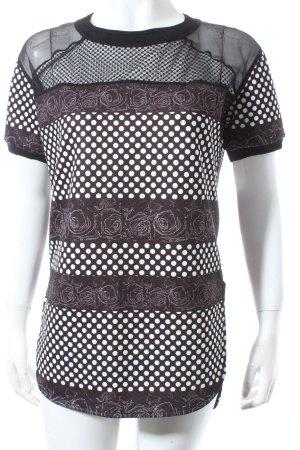 Costume Nemutso Longshirt schwarz-weiß Blumenmuster Casual-Look