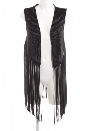 Cotton Candy Fringed Vest black abstract pattern casual look