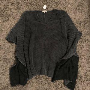 Cotton Candy Poncho en tricot gris anthracite-gris foncé