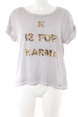 Cotton Candy T-Shirt goldfarben-creme Schriftzug gestickt Casual-Look