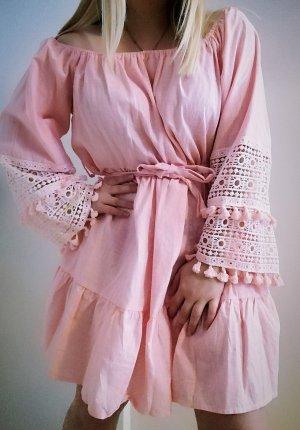 Cotton Quasten Kleid Schulterfrei L