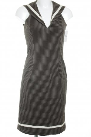 Cottonade Off-The-Shoulder Dress dark grey-white striped pattern business style