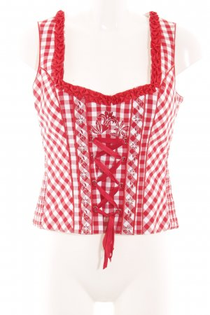 Country Life Trachtenmieder rot-weiß Blumenmuster Casual-Look