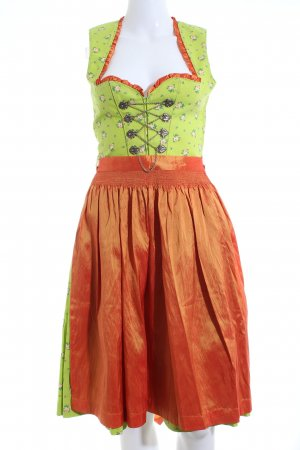 Country Line Dirndl green-light orange flower pattern classic style