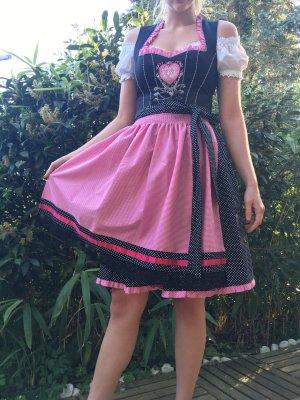Country Line Dirndl in pink und schwarz mit Sartinbundschnürung inklusive Country Lady Bluse