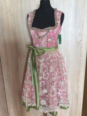 Country Line Dirndl rosa grün Blumen Glitzer Gr 32/34 Neu