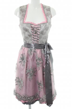 Country Line Dirndl silberfarben-rosa Blumenmuster Country-Look
