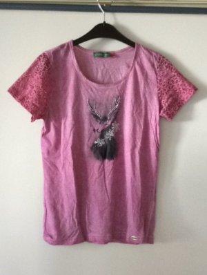 Country Line Trachten T Shirt Gr XS(34) rosa Hirsch