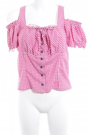 Country Line Folkloristische blouse magenta-wit geruite print casual uitstraling
