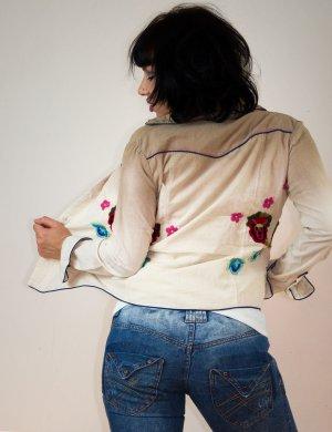 Country Vintage-Art Bluse, Velour-Cord, Ombré mit bestickten Blumen, neu