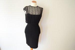 Couture Abendkleid mit raffiniertem Oberteil schwarzes Kleid